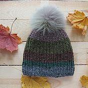 Аксессуары handmade. Livemaster - original item Chunky knit hat with fur pompom