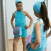 Работы для детей, ручной работы. Ярмарка Мастеров - ручная работа Летний хлопковый ажурный костюм для девочки. Handmade.