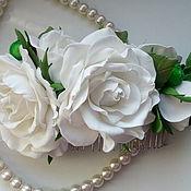 """Украшения ручной работы. Ярмарка Мастеров - ручная работа Эксклюзивный гребень для волос """" Белые розы"""". Handmade."""