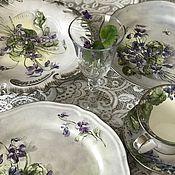 Посуда handmade. Livemaster - original item China painting table Set Violets. Handmade.
