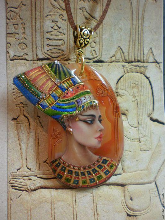 """Кулоны, подвески ручной работы. Ярмарка Мастеров - ручная работа. Купить Кулон """"Царица Египта"""" - 2. Handmade. Ораньжевый, роспись"""