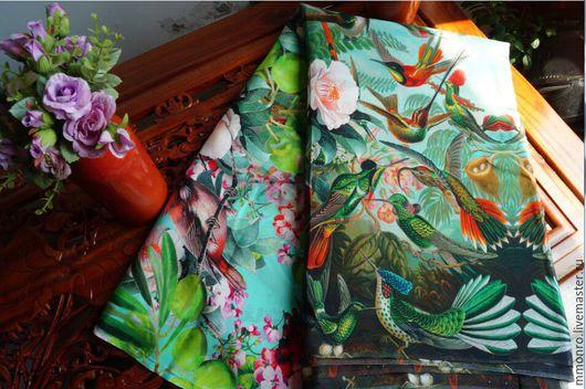 Шитье ручной работы. Ярмарка Мастеров - ручная работа. Купить Красочный 100% шелк крепдешин, Джунгли. Handmade. Ткань