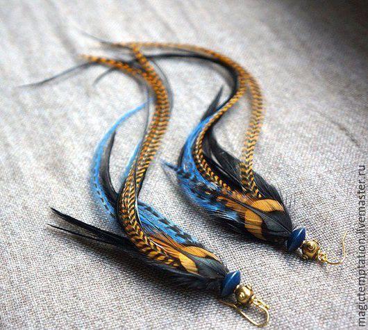 Серьги ручной работы. Ярмарка Мастеров - ручная работа. Купить Синие серьги из перьев.. Handmade. Синий, серьги из перьев, хиппи