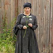 Одежда ручной работы. Ярмарка Мастеров - ручная работа Платье-кафтан из серого льна art.144a (начало). Handmade.