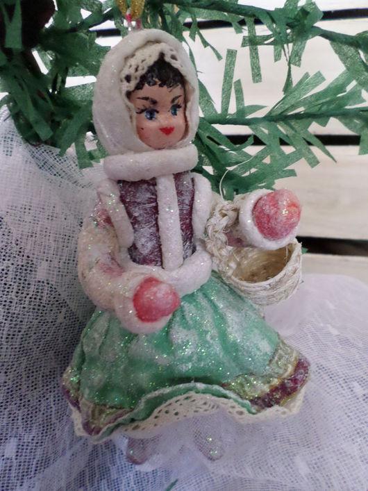 Коллекционные куклы ручной работы. Ярмарка Мастеров - ручная работа. Купить Ватная елочная игрушка .Девочка с лукошком.. Handmade. Комбинированный