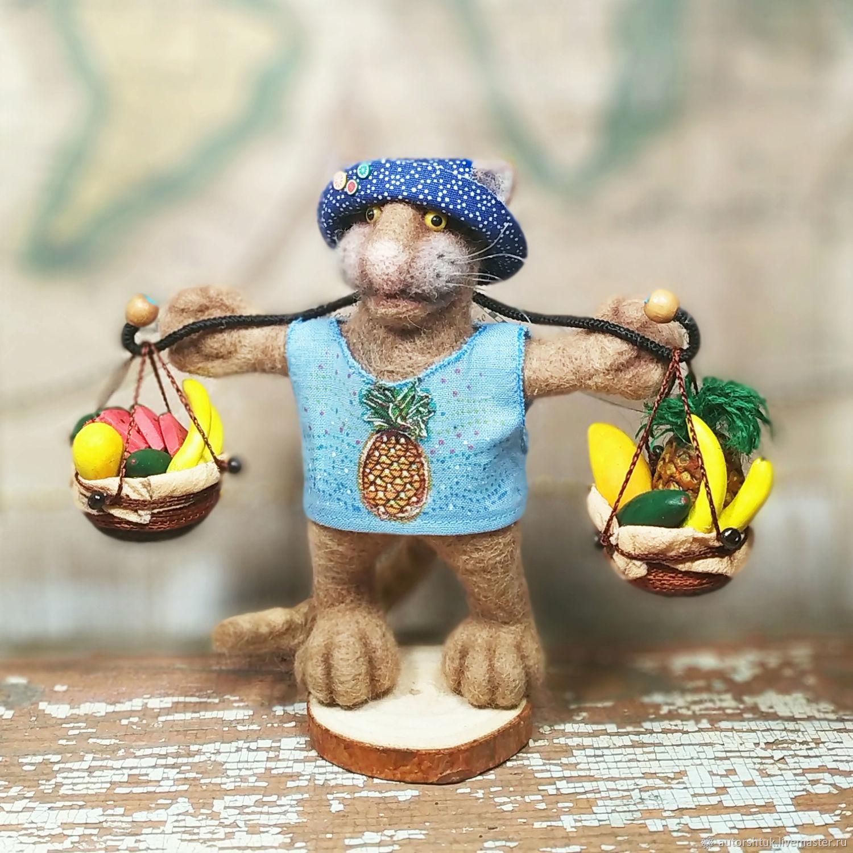 Кот - тайский продавец фруктов, Войлочная игрушка, Томск,  Фото №1