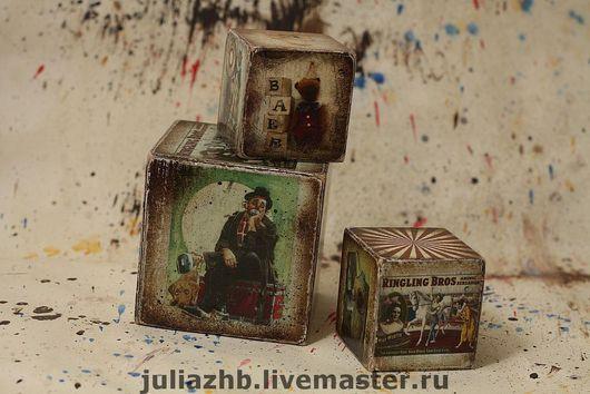Детская ручной работы. Ярмарка Мастеров - ручная работа. Купить Цирковые кубики. Handmade. Кубики, мишки, декупаж, аква-лак