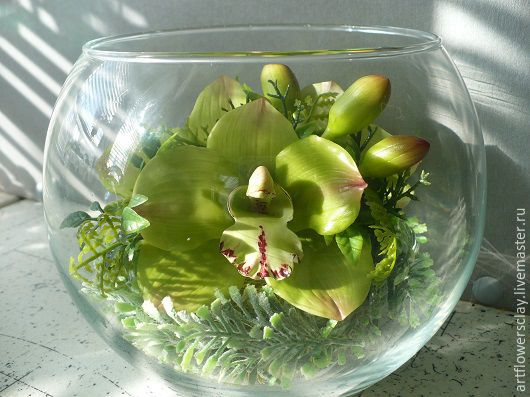 Букеты ручной работы. Ярмарка Мастеров - ручная работа. Купить Орхидеи в стекле (полимерная глина). Handmade. Салатовый, полимерная глина