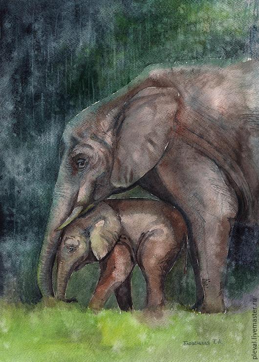 Животные ручной работы. Ярмарка Мастеров - ручная работа. Купить Картина акварелью От дождя тебя укрою - слониха и слоненок. Handmade.