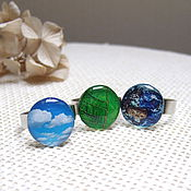 Украшения handmade. Livemaster - original item Rings Earth The Sky Sheet The Choice Of Resin Nature Ecology. Handmade.