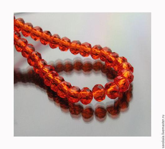 Бусины стеклянные кристалл, красные, 2 мм