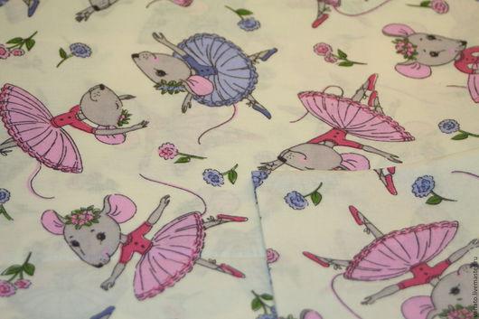 """Шитье ручной работы. Ярмарка Мастеров - ручная работа. Купить Хлопок """"Мышки"""" перкаль. Handmade. Ткань для творчества, ткани для рукоделия"""