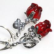 Украшения ручной работы. Ярмарка Мастеров - ручная работа Серьги серебряные алые розы, подарок любимой на 8 марта. Handmade.