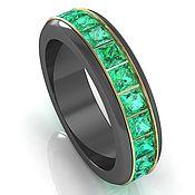 Украшения handmade. Livemaster - original item Titanium ring Swivel with emeralds in gold. Handmade.