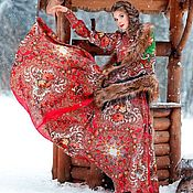 """Платья ручной работы. Ярмарка Мастеров - ручная работа """"Bouquets de Fleur"""" Платье из платков в стиле А-ля Русс. Handmade."""