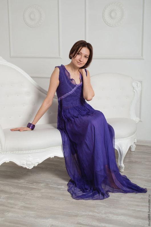 """Платья ручной работы. Ярмарка Мастеров - ручная работа. Купить Платье """"Фиолетовый сумрак тропической ночи"""". Handmade. Тёмно-фиолетовый"""