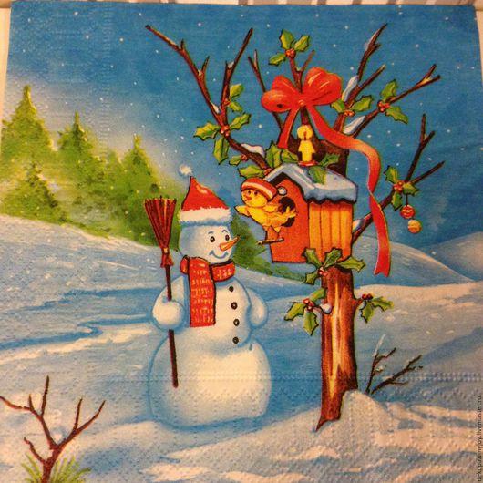 Салфетка для декупажа - Новый год - Снеговик и сковоречник Декупажная радость