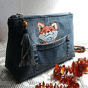 Сумки и аксессуары handmade. Livemaster - original item Cosmetic bag textile in Love with jeans.. Handmade.