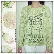 Одежда handmade. Livemaster - original item Women`s sweater Trees, p. .44-46-48 (S-M) 100% cotton openwork leaves. Handmade.