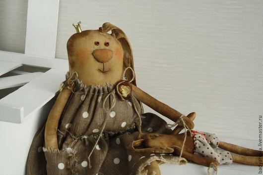"""Ароматизированные куклы ручной работы. Ярмарка Мастеров - ручная работа. Купить Зая  в платье """"горох"""". Handmade. Коричневый, авторские украшения"""