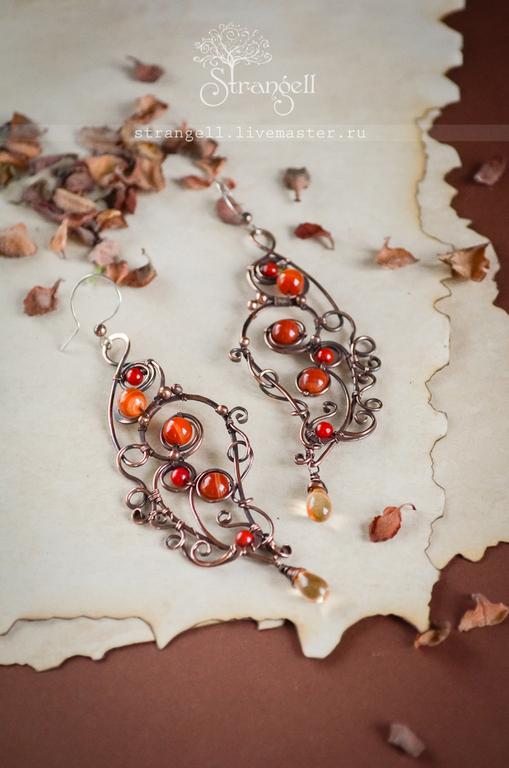 Pendientes de cobre con cornalina y Coral largo grandes pendientes De Redhead, Earrings, Ulan-Ude,  Фото №1