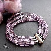 Украшения handmade. Livemaster - original item Silver bracelet with lavender amethyst and cubic zirconia. Handmade.