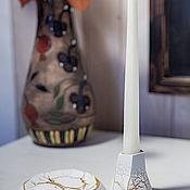 Свечи ручной работы. Ярмарка Мастеров - ручная работа Свеча из белого натурального воска с декорированным подсвечником. Handmade.