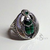 Украшения handmade. Livemaster - original item RING SCARAB OF MALACHITE AND EMERALD. Handmade.