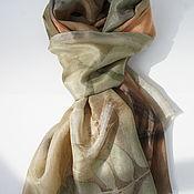 Аксессуары ручной работы. Ярмарка Мастеров - ручная работа шелковый палантин Экопринт. Handmade.