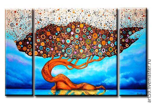 Фантазийные сюжеты ручной работы. Ярмарка Мастеров - ручная работа. Купить Радужное дерево. Handmade. Комбинированный, дерево любви