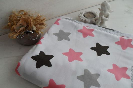 Шитье ручной работы. Ярмарка Мастеров - ручная работа. Купить Хлопковая ткань звезды розово-коричневые. Handmade. Розовый, звезда