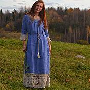 """Одежда handmade. Livemaster - original item Льняное платье в этническом стиле  """"Василек"""". Handmade."""