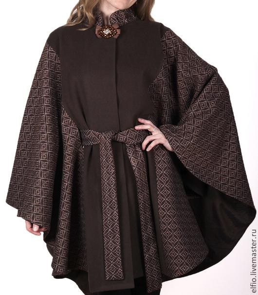 Верхняя одежда ручной работы. Ярмарка Мастеров - ручная работа. Купить Пальто пончо комбинированное из жаккардовой шерсти. Handmade. Коричневый