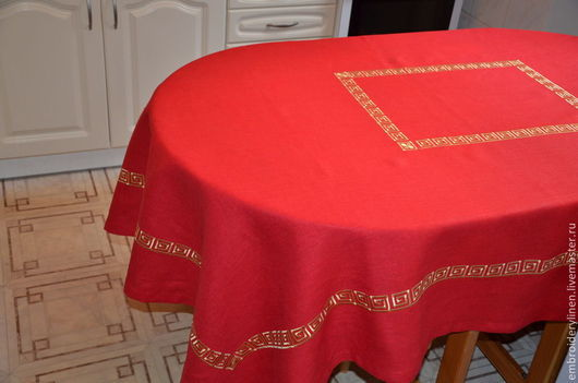 """Текстиль, ковры ручной работы. Ярмарка Мастеров - ручная работа. Купить Скатерть льняная """" Греция"""". Handmade. Ярко-красный"""