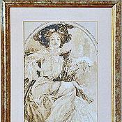 """Картины и панно handmade. Livemaster - original item Embroidered picture Alphonse Mucha """"Сhampagne"""". Handmade."""