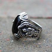 Украшения handmade. Livemaster - original item Ring male with black agate Knight. 925 sterling silver.. Handmade.