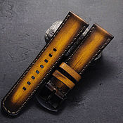 Украшения handmade. Livemaster - original item Watchband leather 18/20/22/24 mm calf leather yellow. Handmade.