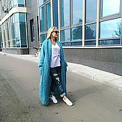 Одежда ручной работы. Ярмарка Мастеров - ручная работа Вязаное пальто-халат оверсайз из пушистого мохера. Handmade.
