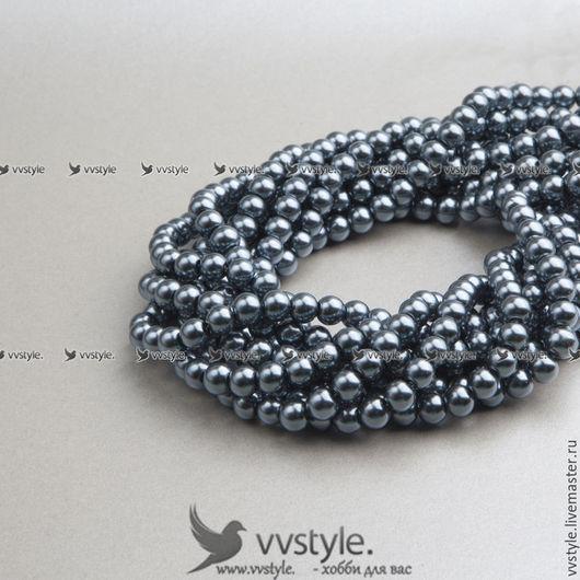 Для украшений ручной работы. Ярмарка Мастеров - ручная работа. Купить Жемчуг (220 бусин) 1 нить 80 см. Серый 4мм (bpa075.4). Handmade.