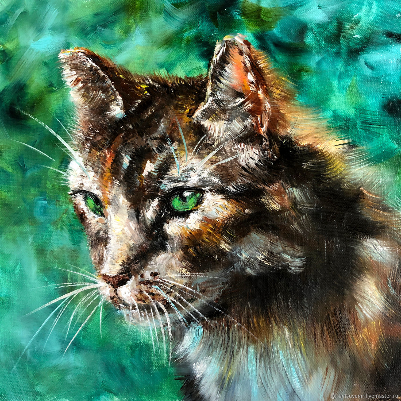 Открытка с котом на бирюзовом фоне, Открытки, Чита, Фото №1