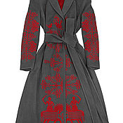Одежда handmade. Livemaster - original item Gray coat with red embroidery. Handmade.