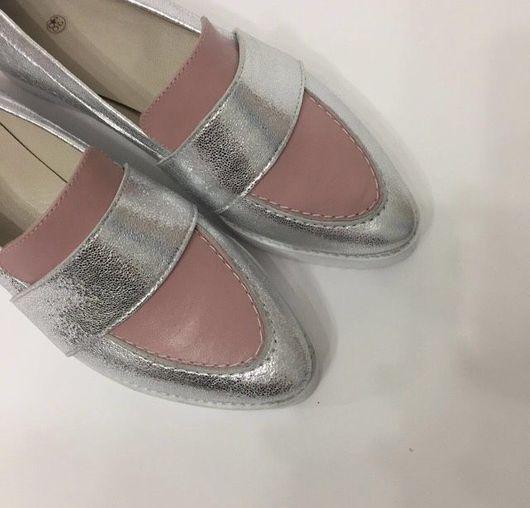 Обувь ручной работы. Ярмарка Мастеров - ручная работа. Купить Лоферы нежное серебро. Handmade. Лоферы, серебристо-розовый, пермь