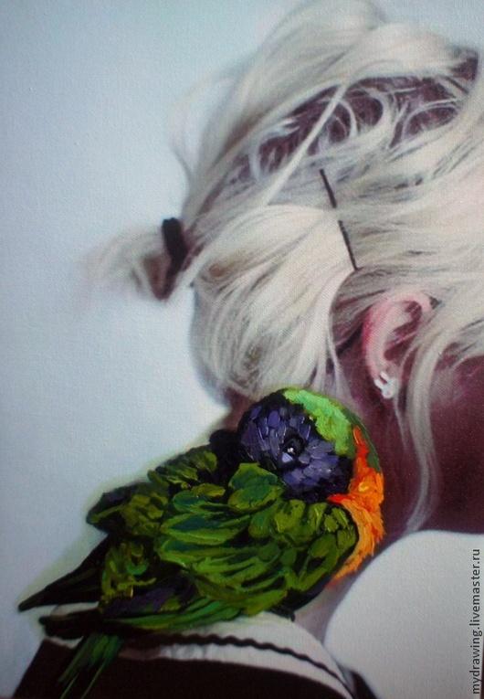 Животные ручной работы. Ярмарка Мастеров - ручная работа. Купить Картина  неразлучник. Handmade. Разноцветный, попугай, коллаж, Живопись, интерьер