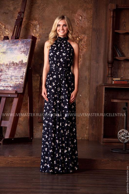 Длинное платье без рукавов, нарядное летнее платье с модным принтом, черное платье в пол, платье в горох красивое летнее платье