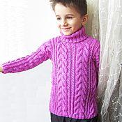 Работы для детей, ручной работы. Ярмарка Мастеров - ручная работа Шерстяной вязаный детский сиреневый свитер. Рост 98 см, 3-4 года.. Handmade.
