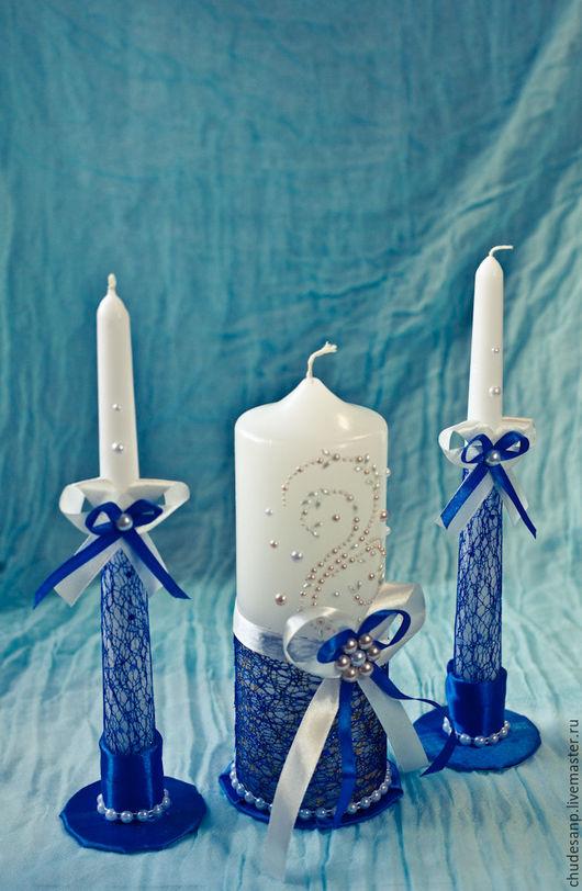 """Свадебные аксессуары ручной работы. Ярмарка Мастеров - ручная работа. Купить Набор свечей """"Синее пламя"""". Handmade. Синий"""