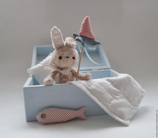 Мишки Тедди ручной работы. Ярмарка Мастеров - ручная работа. Купить Зайка морячок в коробочке. Handmade. Голубой, коробочка, фанера