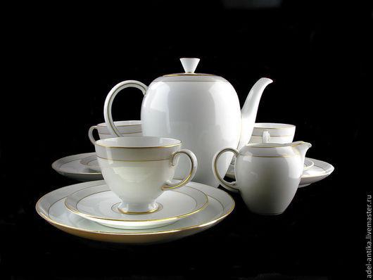 """Винтажная посуда. Ярмарка Мастеров - ручная работа. Купить Сервиз на три персоны """"Кёниг Теттау"""". Handmade. Белый, чашка с блюдцем"""