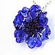 Кулоны, подвески ручной работы. Ярмарка Мастеров - ручная работа. Купить Кулон цветок Кобальт. Серебро, лэмпворк, стекло, синий, черный.. Handmade.