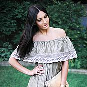 Одежда ручной работы. Ярмарка Мастеров - ручная работа Льняное платье с воланом. Платье длинное прямое «Отблески солнца». Handmade.